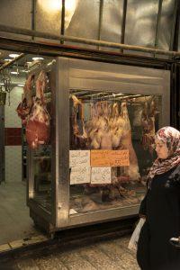Macelleria nel souk arabo di Gerusalemme