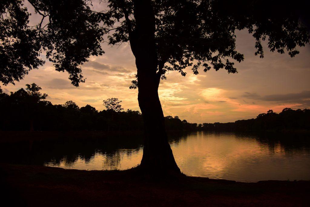 Vista al tramonto della regione di Angkor