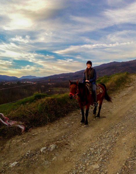Io a cavallo con Treccia a Le Carovane