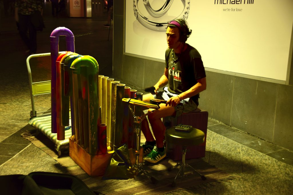 Un artista di strana bravissimo a Brisbane in Albert Street