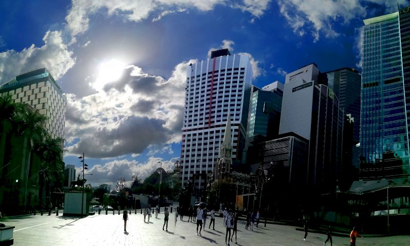 Brisbane panoramica della piazza alla fine di Albert Street