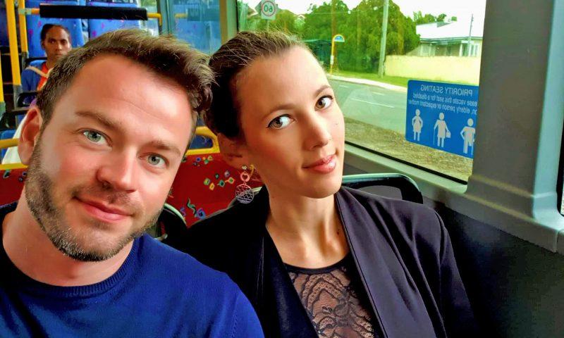 Io ed Enrico sull'autobus a Brisbane