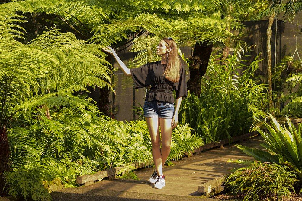 Brisbane Botanic Gardens Io nella casa delle felci